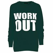 Womans Ladies Work Out Print Long Sleeves Jumper Sweatshirt Tops Over Plus Size