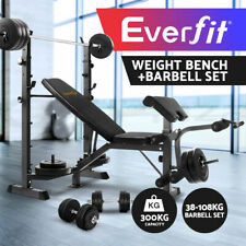 Multi-Station Weight Bench Gym Station + 38-108KG Barbell Set Plates Fitness
