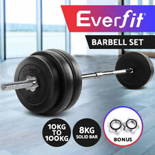 Barbell Weights Set Plates Gym Home Bench Press Fitness Exercise 38-108KG