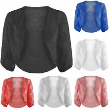 Womens Batwing Cardigan Ladies Open Celeb Lace Crop Bolero Shrug Top Plus Size