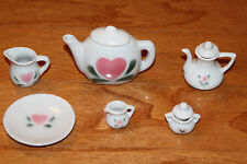 Dollhouse Miniature White Ceramic Tea Set Teapot Sugar Creamer
