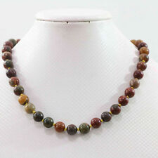 Fashion 8,10,12mm natural multicolor Picasso jasper round beads necklace 18''