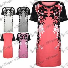 Womens Baggy Dresses Ladies Velvet Flock Floral Print Long T Tee Shirt Tunic Top