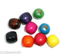 Wholesale Lots Mixed Dyed Drum Wood Spacer Beads 16x17mm (8mm Hole)