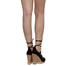 Chase & Chloe CE40 Women's Peep Toe Espadrilles Lace Up Wedge Calf Sandals