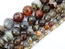 Natural Botswana Agate Faceted Gemstone Round Beads 15'' 4mm 6mm 8mm 10mm 12mm