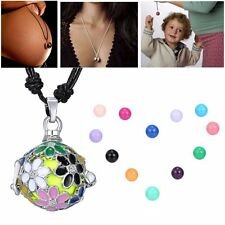 1Pc Daisy Flower Locket Pendant Pregnancy Necklace With Bell Ball Charm Gift New