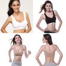 Womens Ladies Stretch Racerback Fitness Sports Bra Yoga Workout Tops Tank Bras
