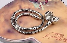 Silver Charm Bracelets Screw Clasp Bracelet Snake Chain Bangle DIY Jewelry 1pc