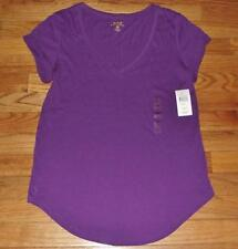 NEW NWT Polo Ralph Lauren Womens PONY LOGO V-Neck T-Shirt Curved Hem Purple *2W