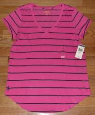 NEW NWT Polo Ralph Lauren Womens PONY LOGO V-Neck T-Shirt Curved Hem Pink *2W