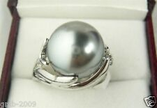 Fashion Women's Genuine Natural 14mm Gray South Sea Shell Pearl Ring Size 7/8/9