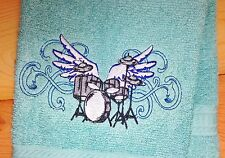 WINGED DRUM Towel ~ Embroidered Hand & Bath Towels ~ Drums DRUMMER MUSIC rock