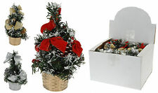 Pretty 20cm Mini Desk Top Table Top Decorated Christmas Tree with Bows & Baubles