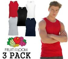3 Pack Mens Fruit of the Loom Vests Cotton Tank Top Gym T Shirt, Everyday wear