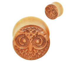 Pair Natural Wood Ear Plugs Gauge Hand-Carved Owl Pattern Ear Expander Stretcher