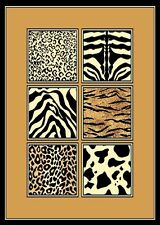 5 X 8 CHEETAH TIGER ZEBRA LEOPARD SKIN MIX WILDLIFE ANIMAL SAFARI AREA RUG