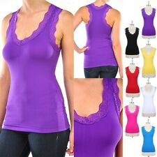 Seamless Basic Tank Top with Lace Trim Straps Slight Racerback Stretch ONE SIZE