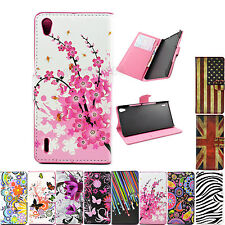 Stand Flip Wallet PU Leather Cover Case For Huawei Ascend P7 P6 Y300 G510 Y530