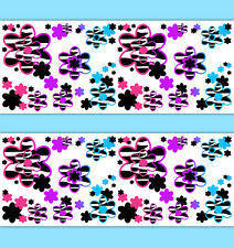 Rainbow Zebra Floral Wallpaper Border Wall Art Decals Girl Animal Print Stickers