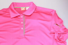 Puma Dry Bright Cabaret Pink + Lime Trim Ladies Tech Crest Polo Shirt 14 New