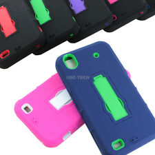 For ZTE Quartz Z797C Rugged Impact Hybrid Hard Case Cover Kickstand Accessory
