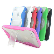 For Apple iPhone 5S 5 Colorful S-Line Ultra-Thin Glossy TPU Case Cover Kickstand