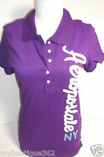 AEROPOSTALE PURPLE POLO TEE TOP EMBROIDERED LOGO HALF BUTTON FRONT NEW NWT