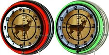 "Deer Hunter Crosshair 18"" Double Neon Wall Clock Man Cave Hunting Lodge Cabin"