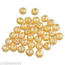 Wholesale Filigree Hollow Ball Spacer Beads Gold Plated 12mm