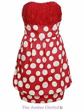 Womens Ladies Bubble Dress Boob Tube Retro Vintage Lace Polka Dot Summer