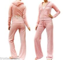 JUICY COUTURE Soft Sugary Pink Velour Old School Crest Tracksuits Hoodie Pants
