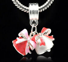 Wholesale lots Enamel Christmas Bell Dangle Beads Fit Charm Bracelet 27x22mm