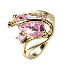 Size 6-10 Marquise Cut Pink Sapphire Wedding Ring Womens 10KT Yellow Gold Filled