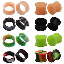 2 PAIRS-DOUBLE FLARED SOFT SILICONE HOLLOW FLESH TUNNEL + SADDLE EAR PLUGS GAUGE