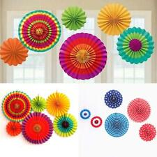 6Pcs Mixed Size Hanging Tissue Paper Wheel Fan Wedding Birthday Party Decoration