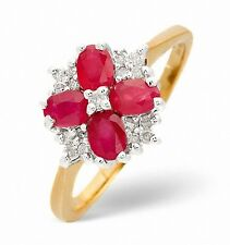 9K Gold 0.14ct Diamond & Ruby Ovals Ring Sizes F - Z Made in London