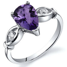 3 Stone 1.00 cts Amethyst Ring Sterling Silver Size 5 to 9