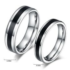 Unisex Fashion Jewelry Black Titanium Band Stainless Steel Ring Size 6-12 one