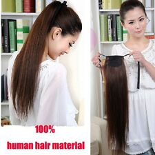 100% Real Human Hair Long Straight Ponytail Horsetail Clip in Hair Extensions