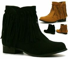 Womens Ladies Faux Suede Fringe Tassel Low Heel Ankle Boots Shoes Size