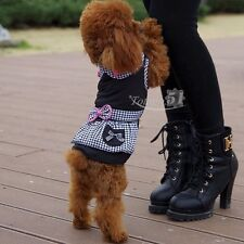Small Pet Dog Dress Plaid Summer Clothing Apparel Puppy Skirt Jumpsuits Clothes