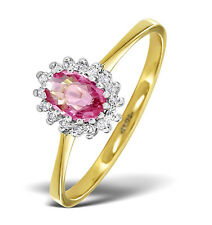 9K Gold Diamond & Pink Sapphire Oval Cluster Ring Sizes F-Z Made in London