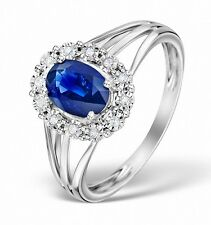 Sapphire Ring White gold Ring Sapphire and Diamond ring Engagement Ring Cluster