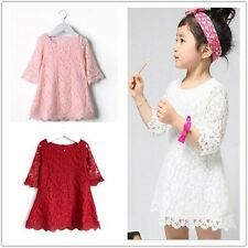 Toddler Baby clothes baby girls summer lace dress baby clothes party dress 1-7Y
