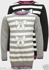 NEW GIRLS KNITTED BOW JUMPER STRIPE DRESS LONG SLEEVE 3-4-5-6-7-8 YEARS