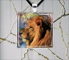 LION AFRICA KING OF WILD LIFE #8 SQUARE PENDANT NECKLACE -jgh4Z