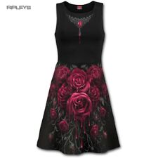 Spiral Ladies Black Goth Grunge  Blood Rose Midi SKATER Dress All Sizes