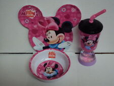 "DISNEY'S MINNIE MOUSE BABY/TODDLER MELAMINE ""EAR"" PLATE, BOWL & TUMBLER"