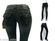 NWT TRUE RELIGION Womens Slim Straight Billy Black Super T  Jeans Independence
